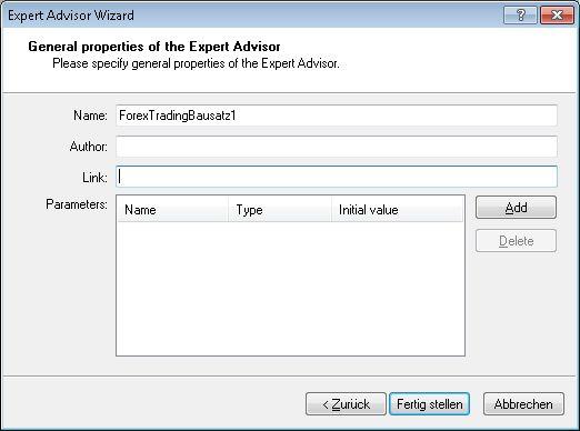 Der ExpertAdvisor wird benannt