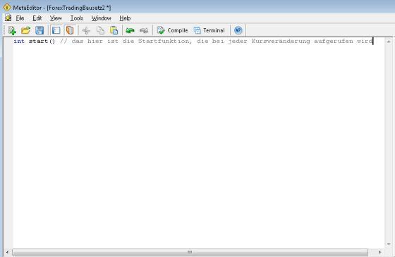 erste Zeile des Programms im Meta-Editor