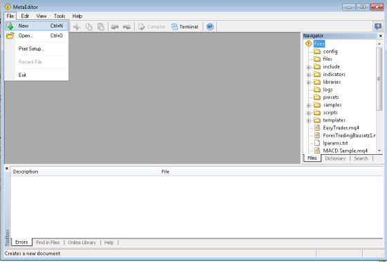 Metaeditor - neue Datei für das Forex System